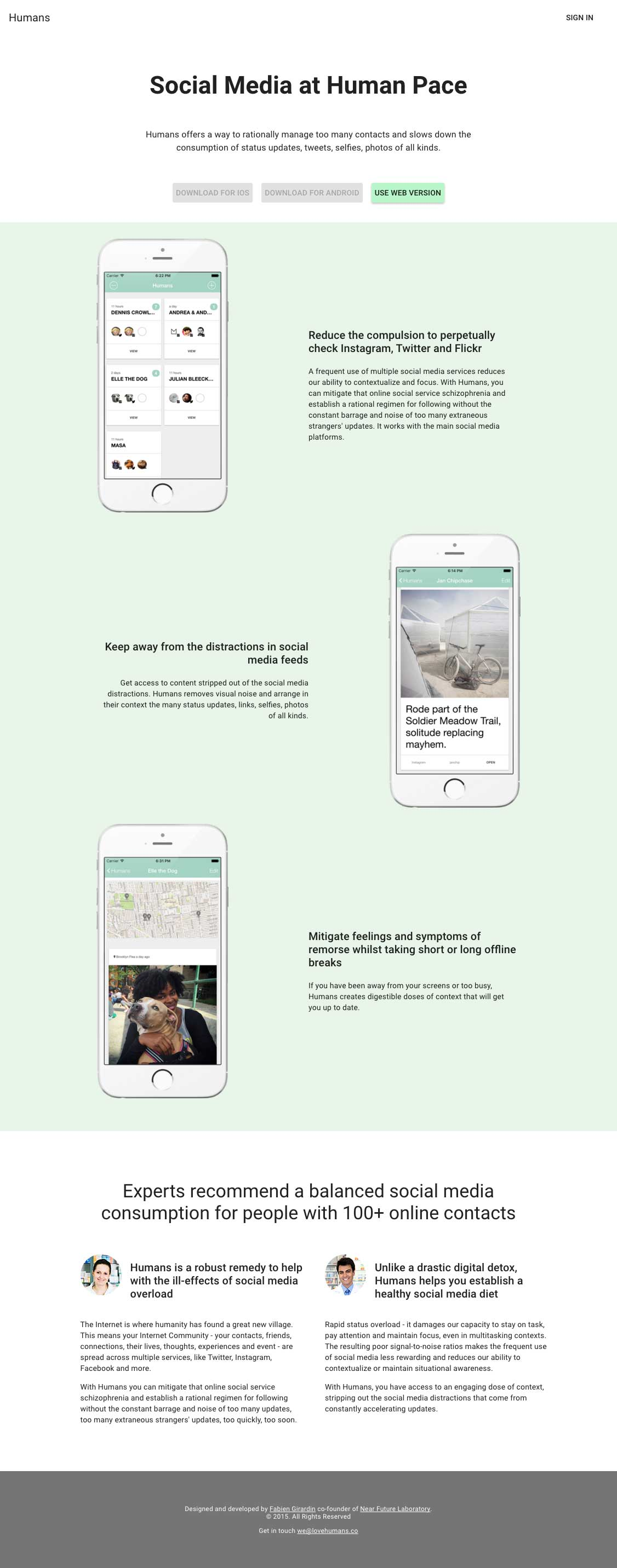 The Humans landing page.